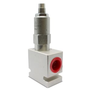 Side view of Adjustable Pressure Relief Valve; Direct Acting; 20 GPM; 3000 PSI; #8 SAE (3/4 – 16 ORB)